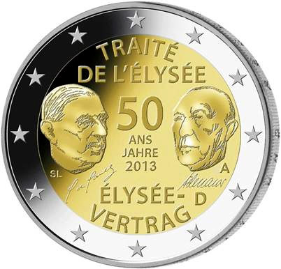 Image of 2 euro coin - 50 Years of the Élysée Treaty | Germany 2013
