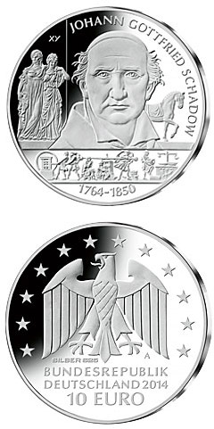 Image of 10 euro coin - 250. Geburtstag Johann Gottfried Schadow | Germany 2014.  The Silver coin is of Proof, BU quality.