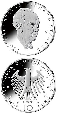 10 euro 150. Geburtstag Richard Strauss - 2014 - Series: Silver 10 euro coins - Germany