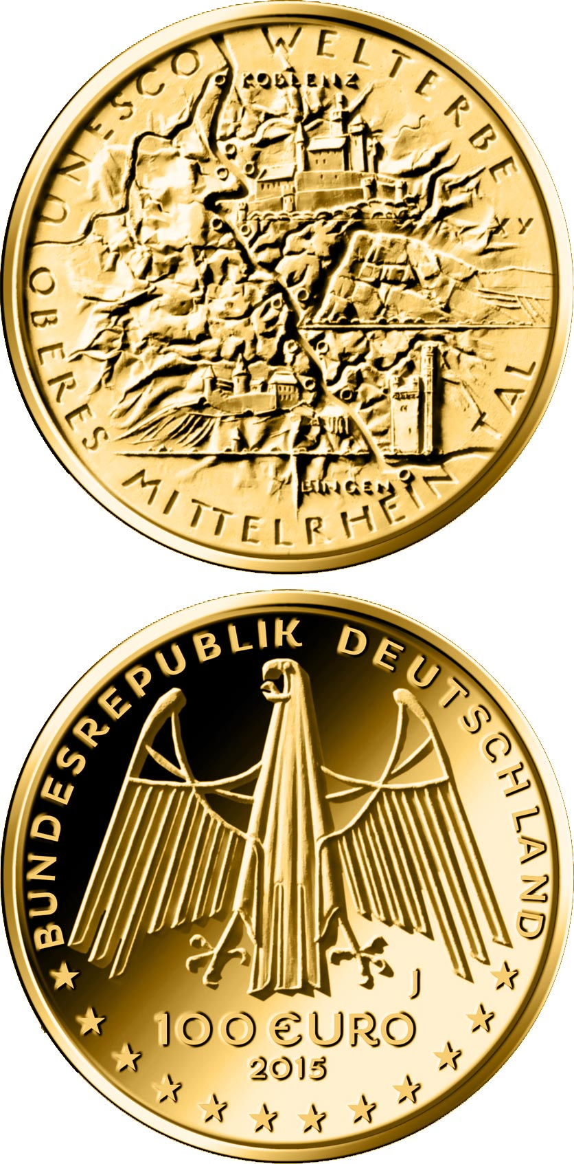 Image of 100 euro coin - UNESCO Welterbe - Oberes Mittelrheintal | Germany 2015.  The Gold coin is of Proof quality.