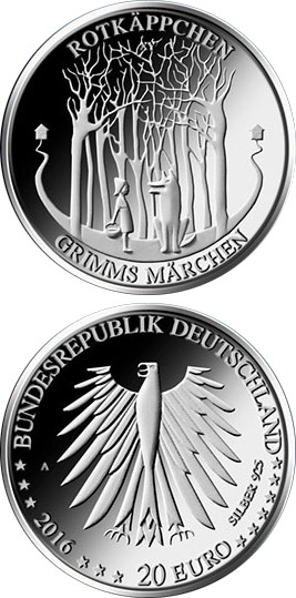 Image of 20 euro coin - Rotkäppchen und der Wolf  | Germany 2016.  The Silver coin is of Proof, BU quality.