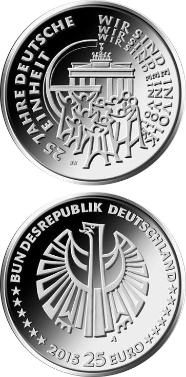 Image of 25 Jahre Deutsche Einheit – 25 euro coin Germany 2015.  The Silver coin is of Proof quality.