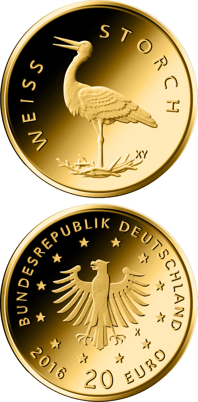 Image of 20 euro coin Weißstorch  | Germany 2020.  The Gold coin is of Proof quality.