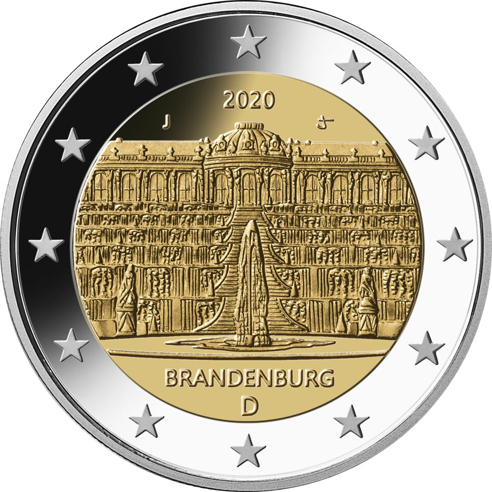 Image of 2 euro coin - Brandenburg - Sanssouci Palace in Potsdam | Germany 2020