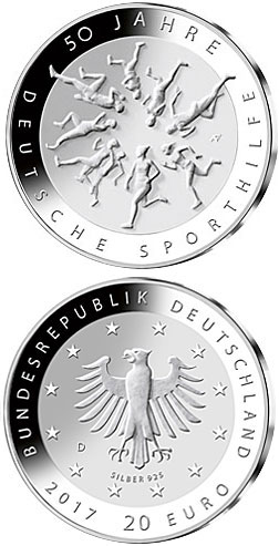 Image of 20 euro coin - 50 Jahre Deutsche Sporthilfe | Germany 2017.  The Silver coin is of Proof, BU quality.