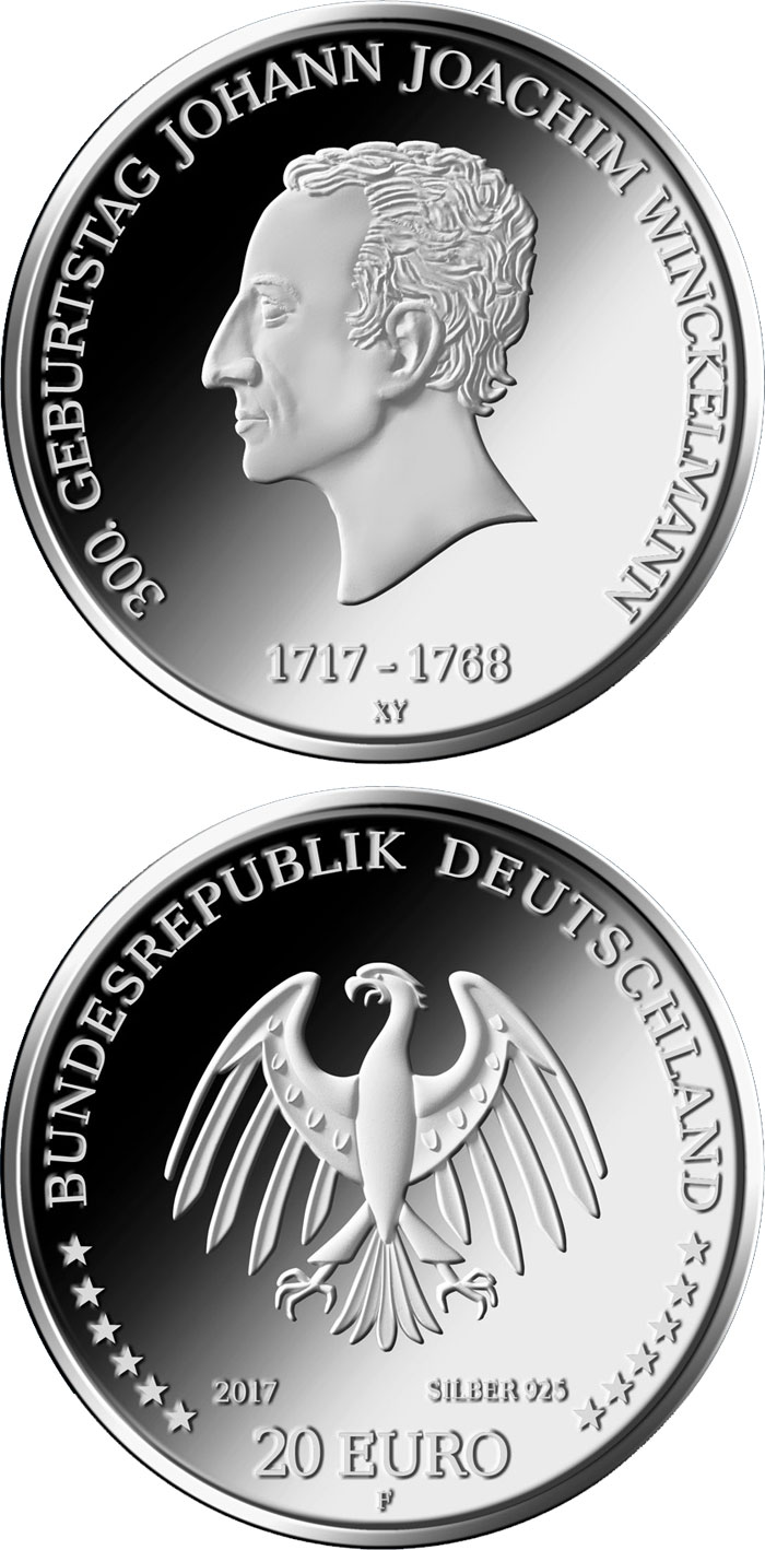 Image of 20 euro coin - 300. Geburtstag Johann Joachim Winckelmann | Germany 2017.  The Silver coin is of Proof, BU quality.