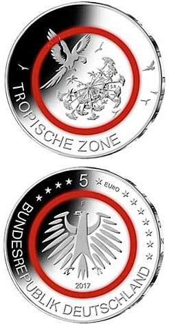 Image of 5 euro coin - Tropische Zone | Germany 2017.  The Copper coin is of UNC quality.