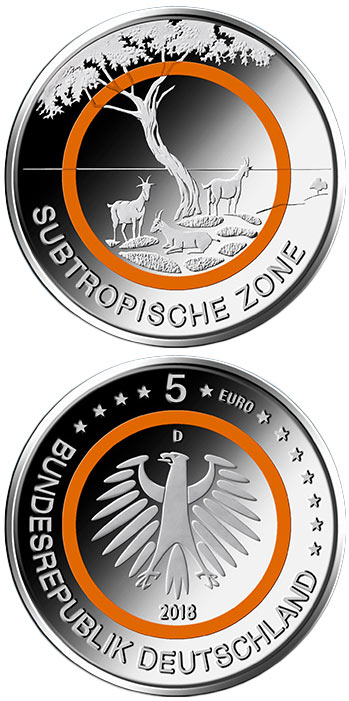 Image of 5 euro coin - Subtropische Zone | Germany 2018.  The Copper coin is of UNC quality.