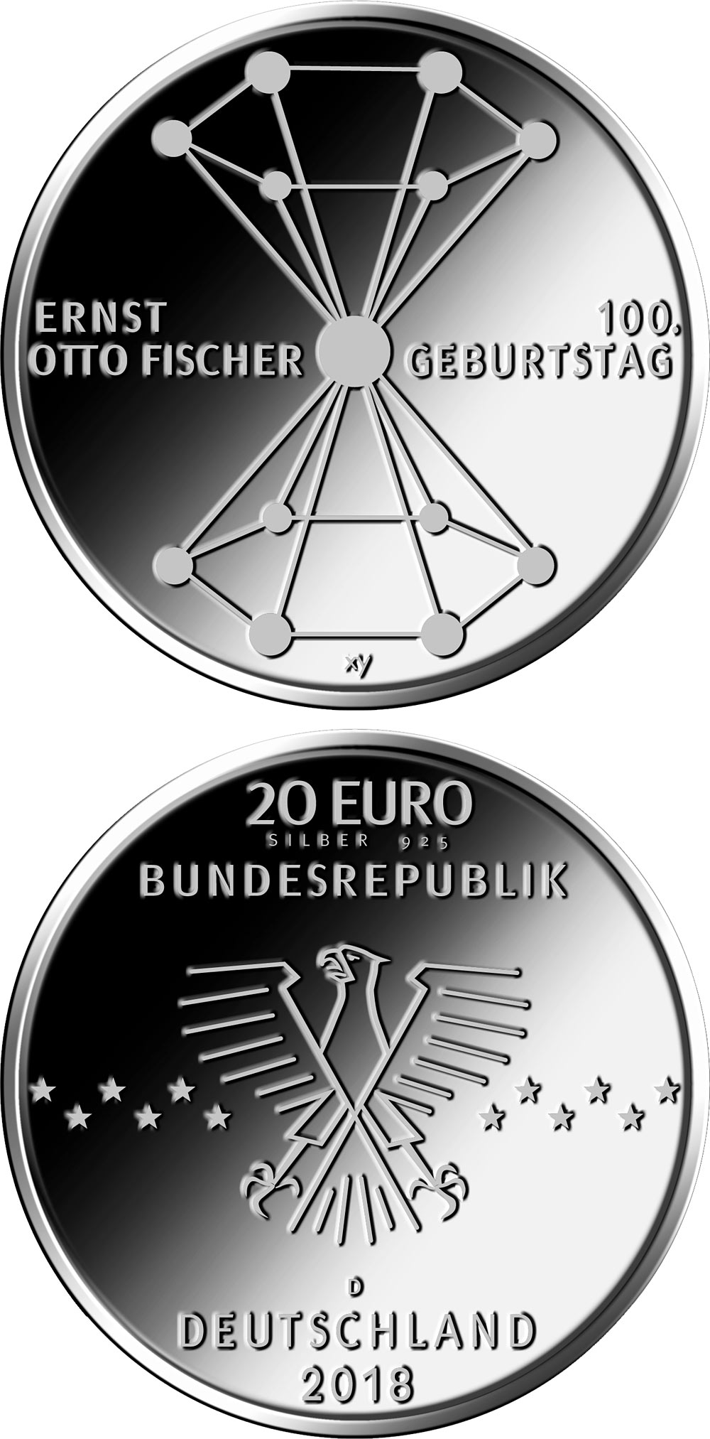 Image of 20 euro coin - 100. Geburtstag Ernst Otto Fischer | Germany 2018.  The Silver coin is of Proof, BU quality.