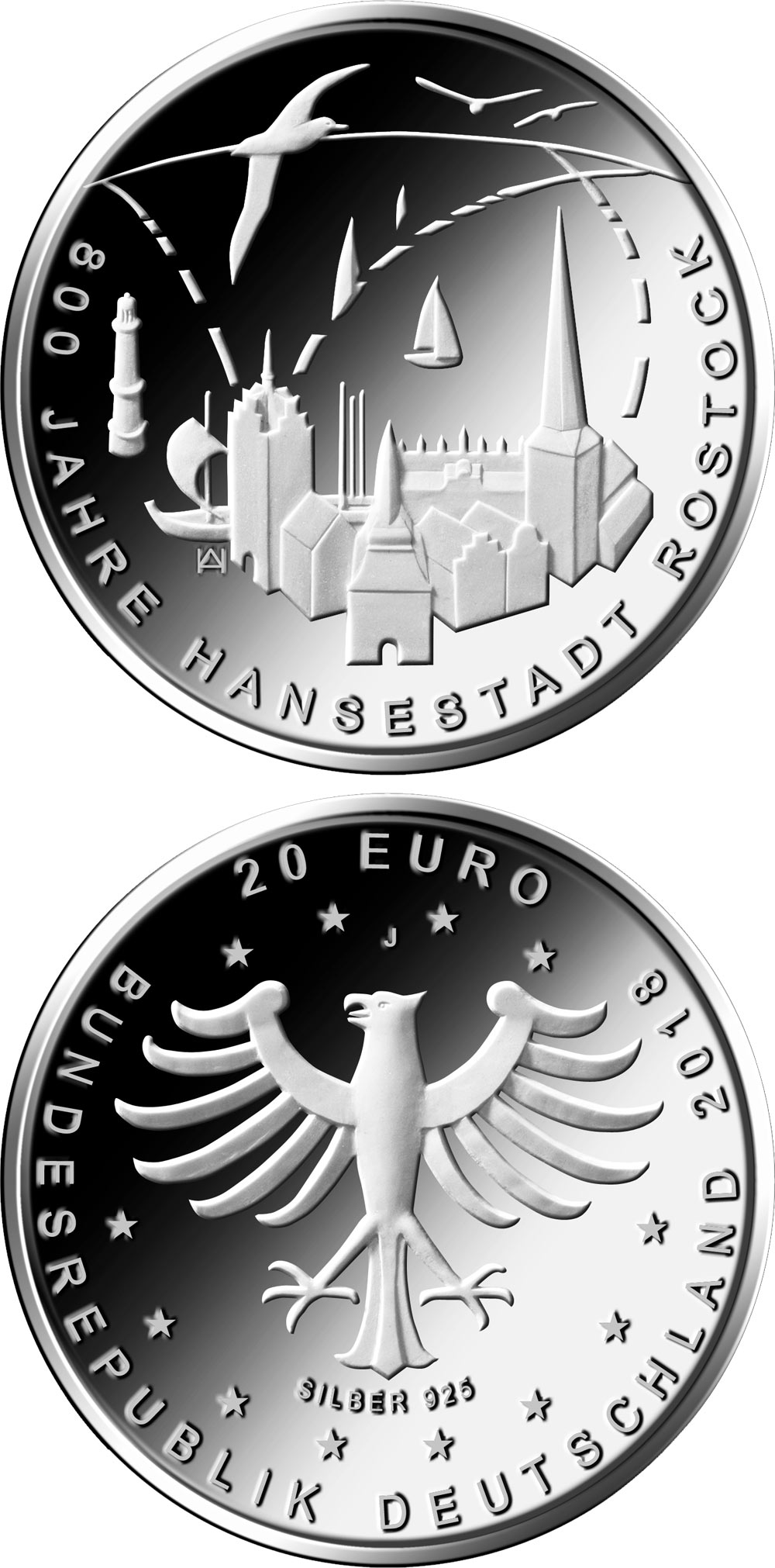 Image of 20 euro coin - 800 Jahre Hansestadt Rostock  | Germany 2018.  The Silver coin is of Proof, BU quality.