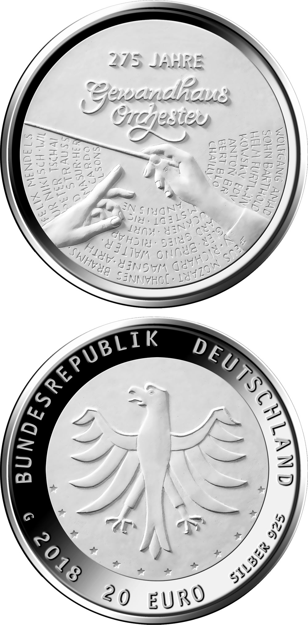 Image of 20 euro coin - 275 Jahre Gewandhausorchester  | Germany 2018.  The Silver coin is of Proof, BU quality.