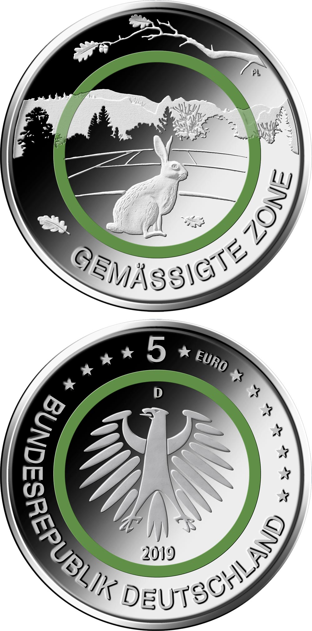 Image of 5 euro coin - Gemässigte Zone | Germany 2019.  The Copper coin is of UNC quality.