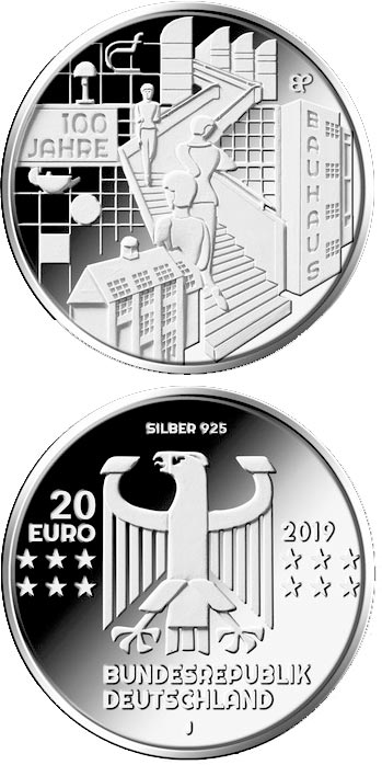 Image of 20 euro coin – 100 Jahre Bauhaus | Germany 2019.  The Silver coin is of Proof, BU quality.