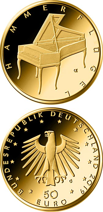 Image of 50 euro coin - Fortepiano | Germany 2019.  The Gold coin is of Proof quality.