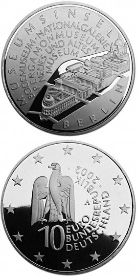 Image of 10 euro coin - Museumsinsel Berlin | Germany 2002.  The Silver coin is of Proof, BU quality.