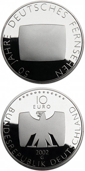 Image of 50 Jahre Deutsches Fernsehen – 10 euro coin Germany 2002.  The Silver coin is of Proof, BU quality.