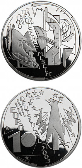 Image of 100 Jahre Deutsches Museum München – 10 euro coin Germany 2003.  The Silver coin is of Proof, BU quality.
