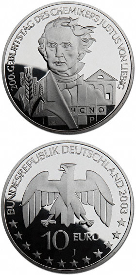 Image of 200 Geburtstag Justus von Liebig – 10 euro coin Germany 2003.  The Silver coin is of Proof, BU quality.