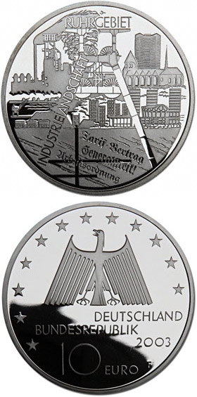 Image of 10 euro coin – 50 Jahre 17.Juni 1953 | Germany 2003.  The Silver coin is of Proof, BU quality.