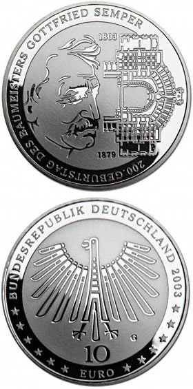 Image of 10 euro coin – Industrielandschaft Ruhrgebiet | Germany 2003.  The Silver coin is of Proof, BU quality.