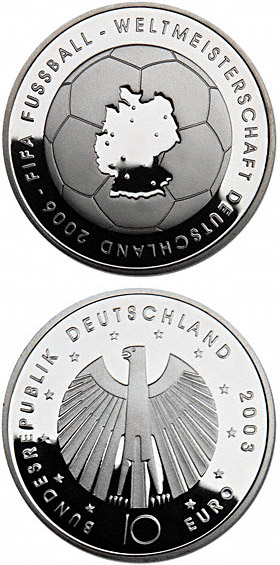 Image of 10 euro coin – 200. Geburtstag von Gottfried Semper | Germany 2003.  The Silver coin is of Proof, BU quality.