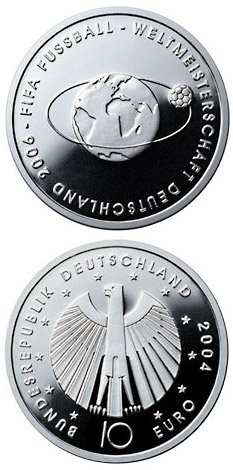 Image of FIFA-Fußball-WM -Weltkugel- – 10 euro coin Germany 2004.  The Silver coin is of Proof, BU quality.