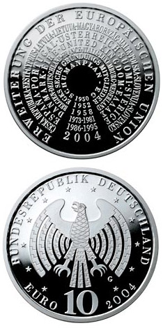 Image of 10 euro coin – Erweiterung der Europäischen Union | Germany 2004.  The Silver coin is of Proof, BU quality.