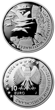 Image of 10 euro coin - Nationalparke Wattenmeer | Germany 2004.  The Silver coin is of Proof, BU quality.
