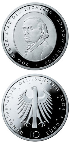 Image of 10 euro coin 200. Geburtstag des Dichters Eduard Mörike | Germany 2004.  The Silver coin is of Proof, BU quality.