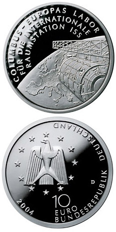 Image of 10 euro coin – Columbus - Europas Labor für die Internationale Raumstation ISS | Germany 2004.  The Silver coin is of Proof, BU quality.