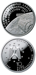 10 euro coin Columbus - Europas Labor für die Internationale Raumstation ISS | Germany 2004