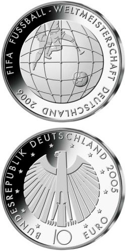 Image of FIFA-Fußball-WM -Tornetz- – 10 euro coin Germany 2005.  The Silver coin is of Proof, BU quality.