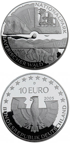 Image of 10 euro coin - Nationalpark Bayerischer Wald | Germany 2005.  The Silver coin is of Proof, BU quality.