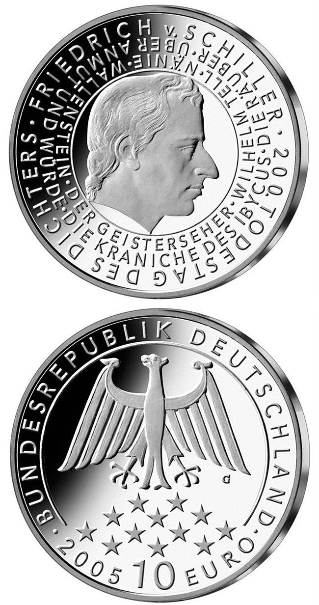 Image of 200. Todestag von Friedrich Schiller – 10 euro coin Germany 2005.  The Silver coin is of Proof, BU quality.