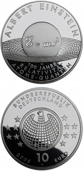 Image of 10 euro coin – Albert Einstein - 100 Jahre Relativität, Atome, Quanten | Germany 2005.  The Silver coin is of Proof, BU quality.