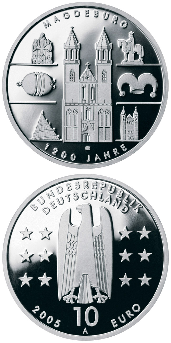 Image of 10 euro coin – 1200 Jahre Magdeburg | Germany 2005.  The Silver coin is of Proof, BU quality.
