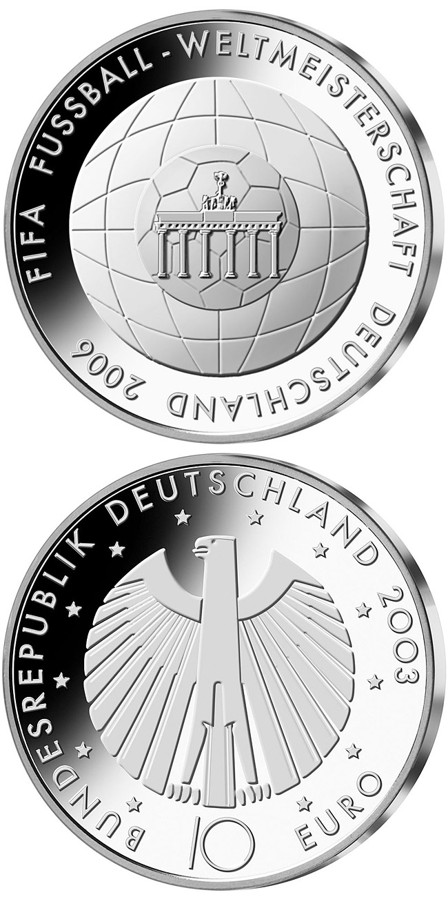 Image of 10 euro coin - FIFA-Fußball-WM -Brandenburger Tor- | Germany 2006.  The Silver coin is of Proof, BU quality.
