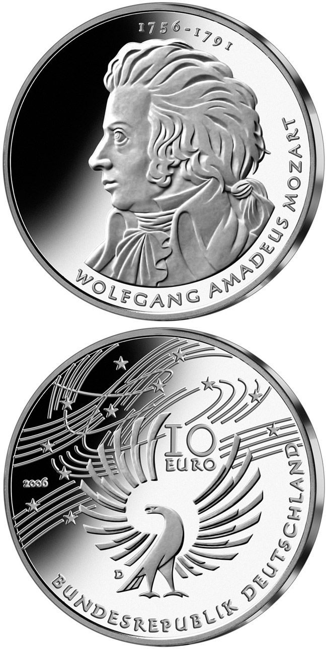 Image of a coin 10 euro | Germany | 250. Geburtstag Wolfgang Amadeus Mozart | 2006