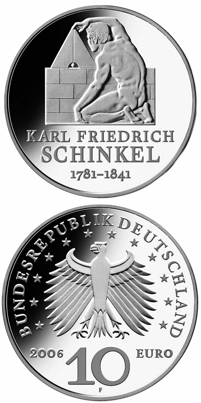 Image of 10 euro coin – 225. Geburtstag von Karl Friedrich Schinkel | Germany 2006.  The Silver coin is of Proof, BU quality.