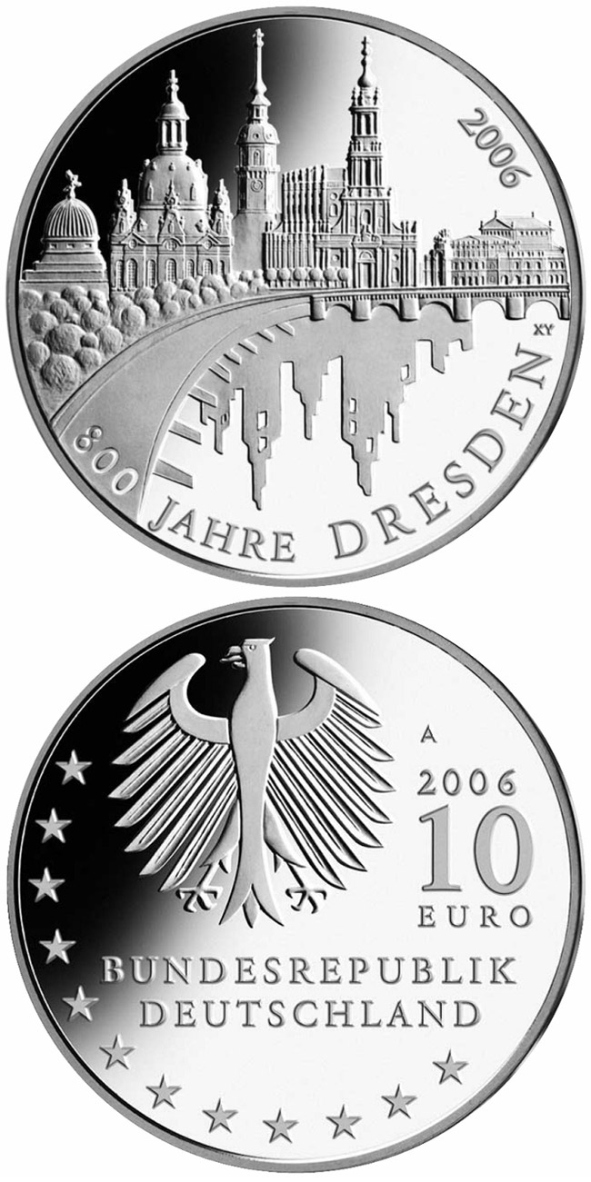 Image of 10 euro coin - 800 Jahre Dresden | Germany 2006.  The Silver coin is of Proof, BU quality.