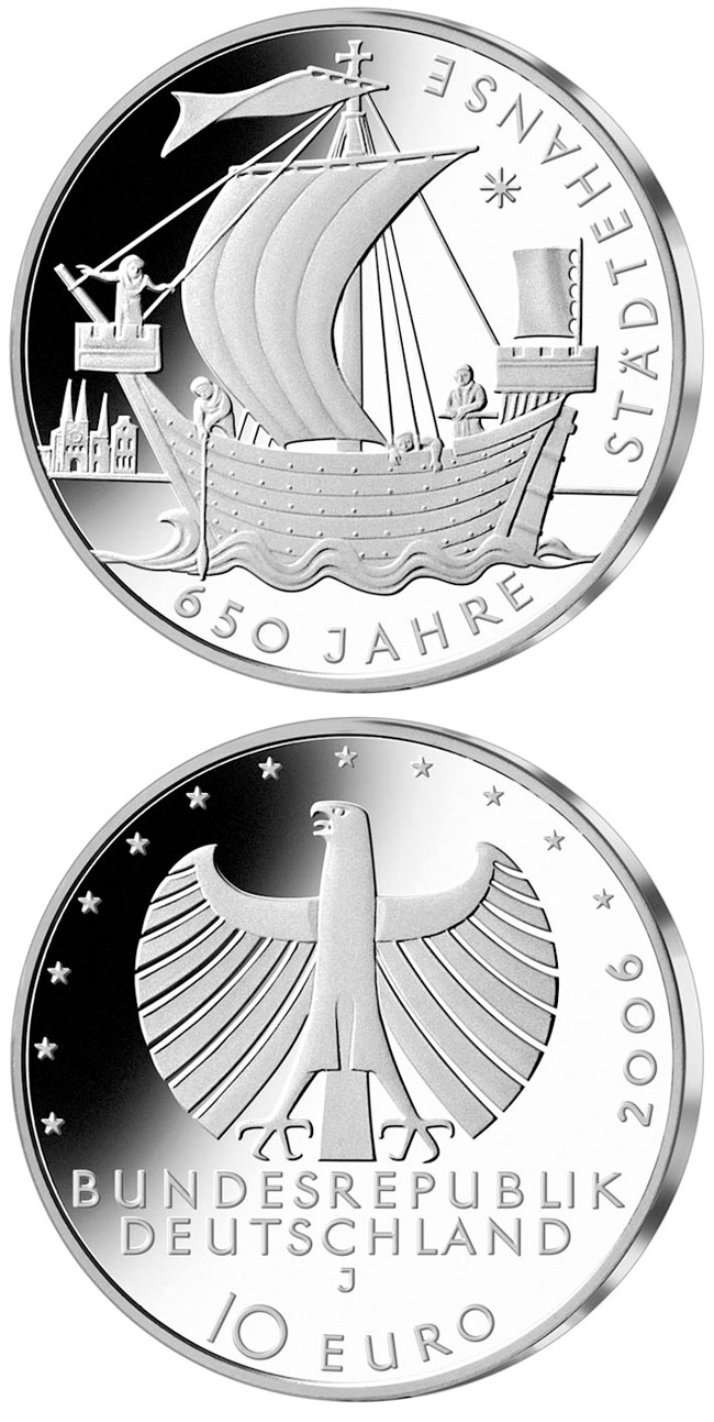Image of 650 Jahre Städtehanse – 10 euro coin Germany 2006.  The Silver coin is of Proof, BU quality.