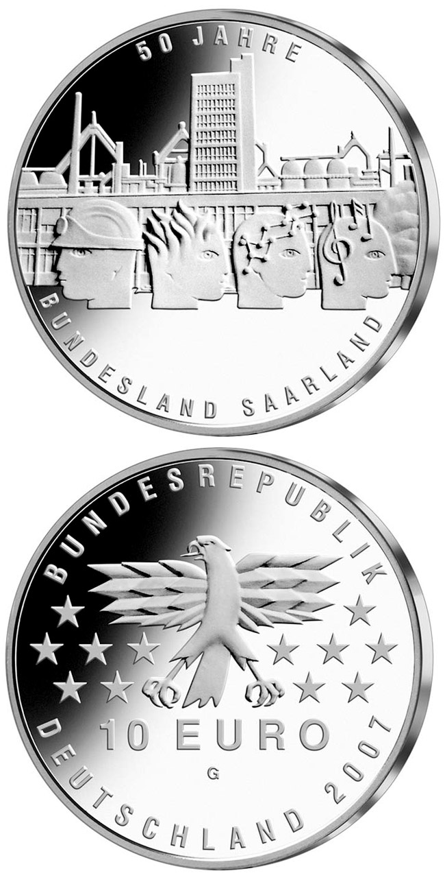 Image of 10 euro coin – 50 Jahre Bundesland Saarland | Germany 2007.  The Silver coin is of Proof, BU quality.