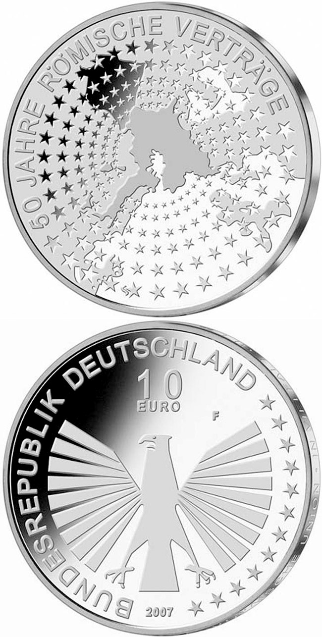 Image of 10 euro coin - 50 Jahre Römische Verträge | Germany 2007.  The Silver coin is of Proof, BU quality.