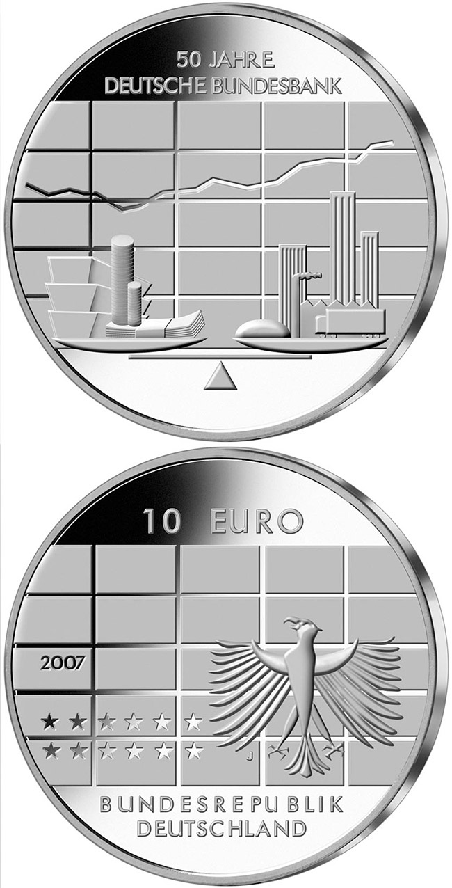Image of 10 euro coin – 50 Jahre Deutsche Bundesbank | Germany 2007.  The Silver coin is of Proof, BU quality.