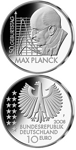 10 euro coin 150. Geburtstag Max Planck  | Germany 2008
