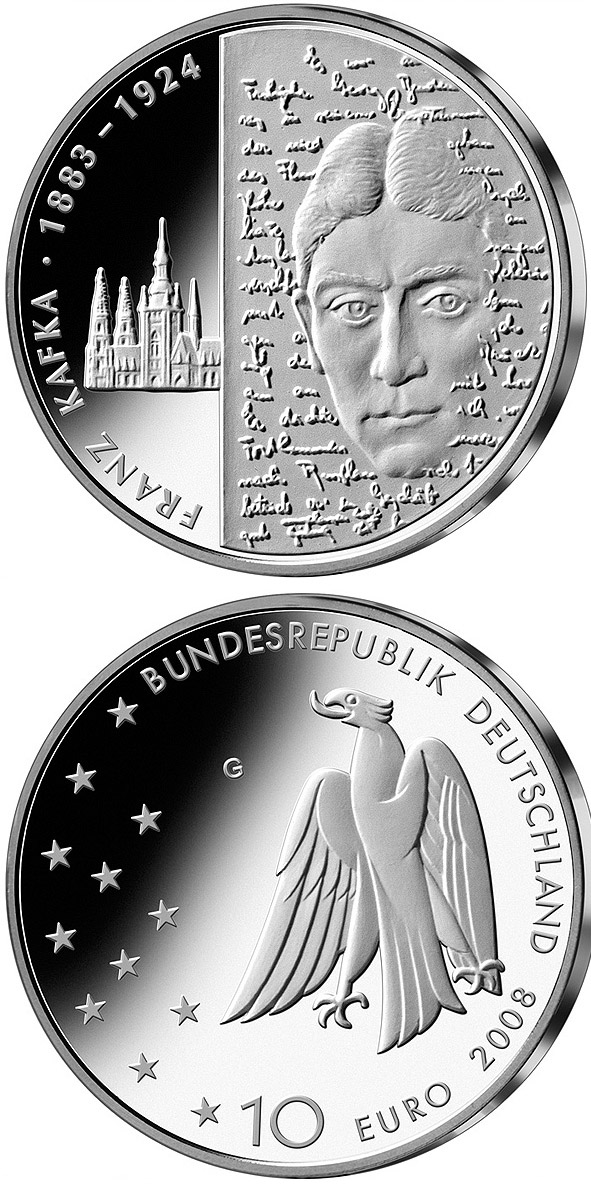 Image of 10 euro coin – 125. Geburtstag Franz Kafka | Germany 2008.  The Silver coin is of Proof, BU quality.