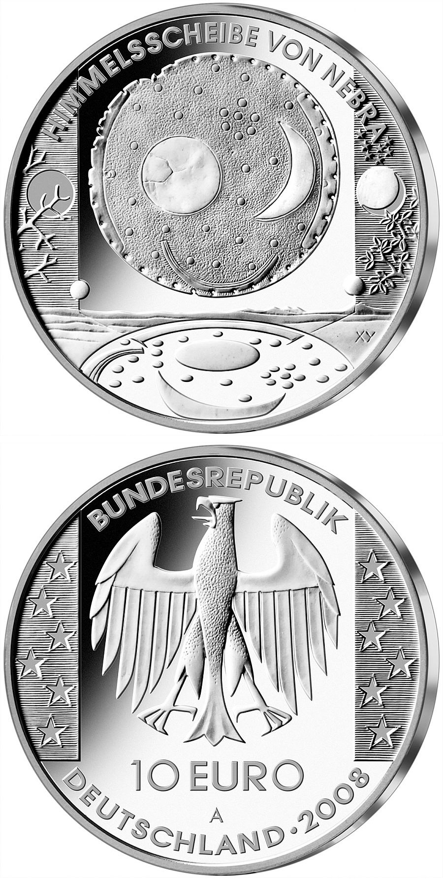 Image of 10 euro coin Himmelsscheibe von Nebra | Germany 2008.  The Silver coin is of Proof, BU quality.