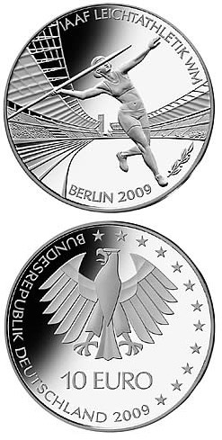 Image of 10 euro coin – Leichtathletik-WM in Berlin | Germany 2009.  The Silver coin is of Proof, BU quality.