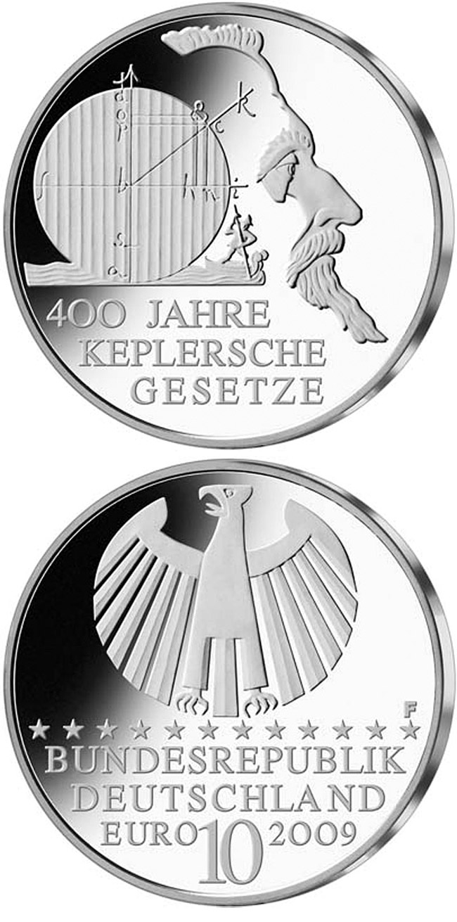 Image of 10 euro coin – 400 Jahre Keplersche Gesetze | Germany 2009.  The Silver coin is of Proof, BU quality.