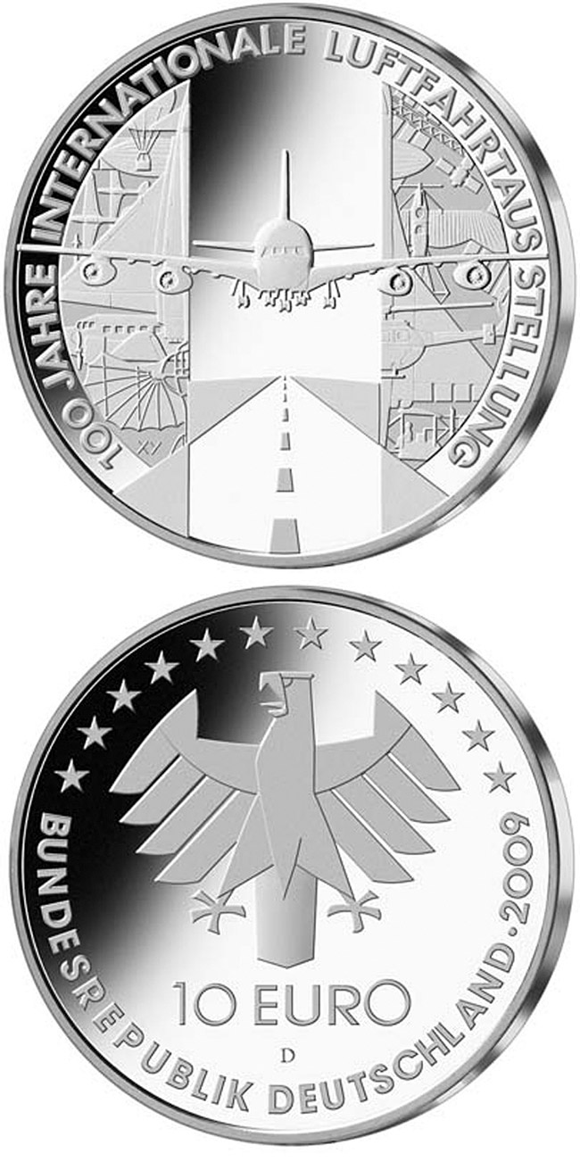 Image of 10 euro coin – 100 Jahre Internationale Luftfahrtausstellung | Germany 2009.  The Silver coin is of Proof, BU quality.
